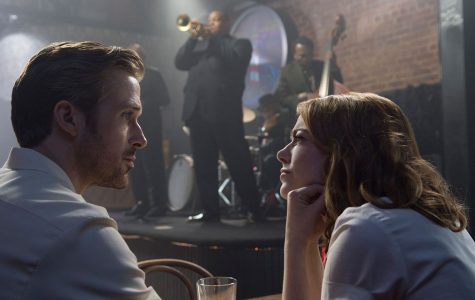 Sebastian (Oscar nominee Ryan Gosling), left, and Mia (Oscar nominee Emma Stone), right, converse with each other at an LA jazz spot - The Lighthouse Café - in Damien Chazelle's mesmerizing musical film La La Land with the couple struggling to achieve their dreams in the City of Angels.
