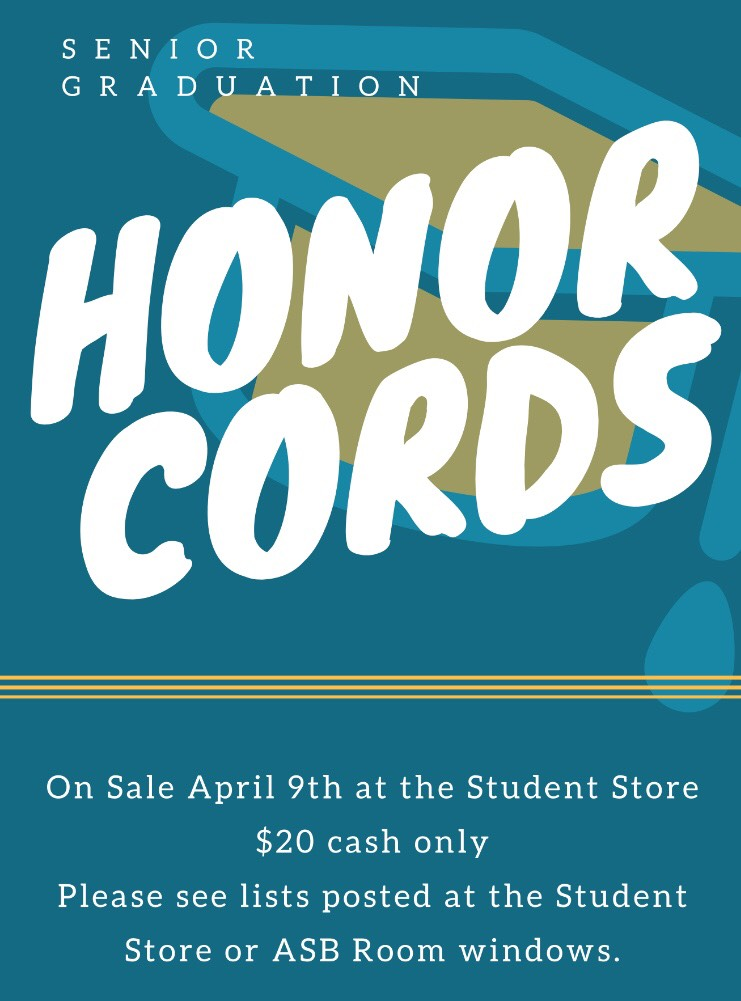 Get your honor cords from the student store!