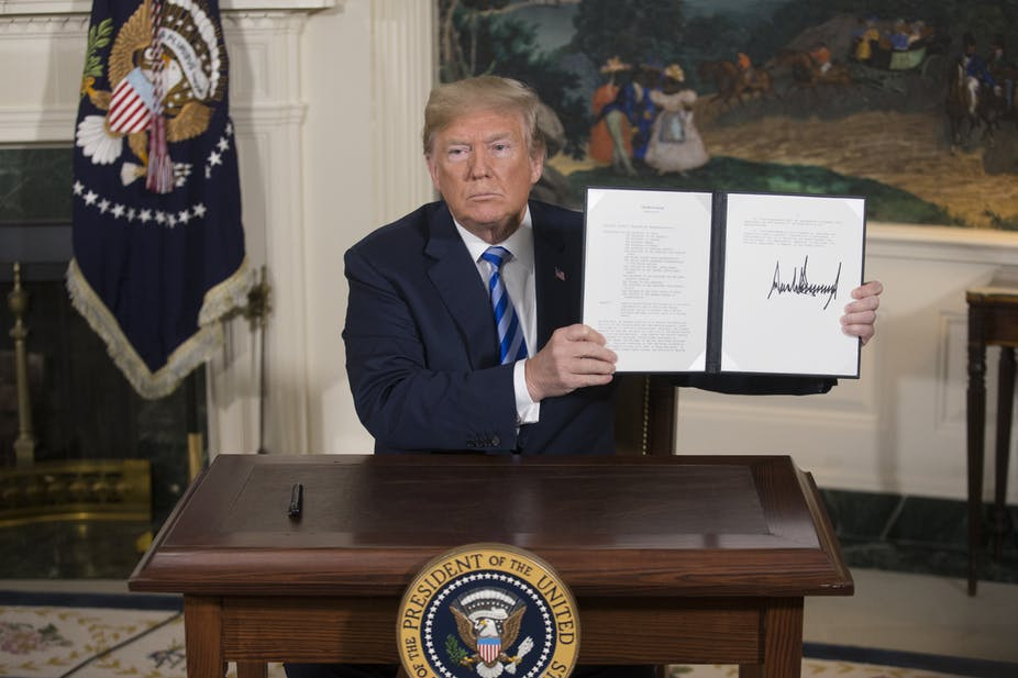 Photo Credits:  http://theconversation.com/donald-trump-backs-out-of-iran-nuclear-deal-now-what-96317
