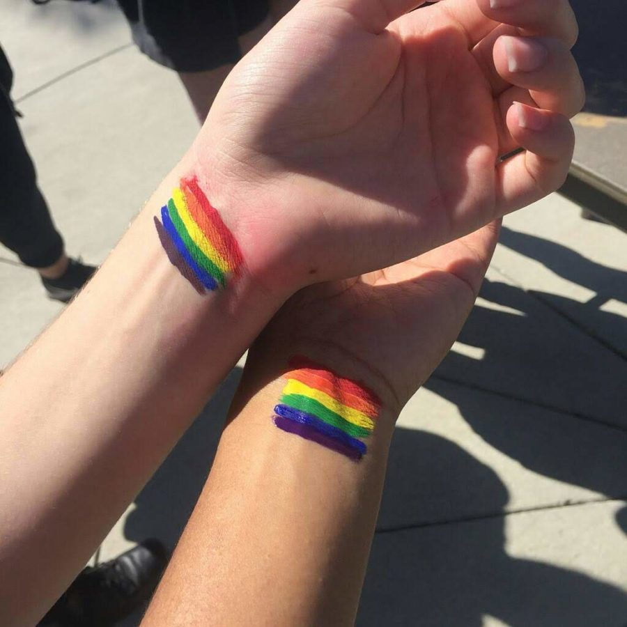 Wrist paintings of pride flags