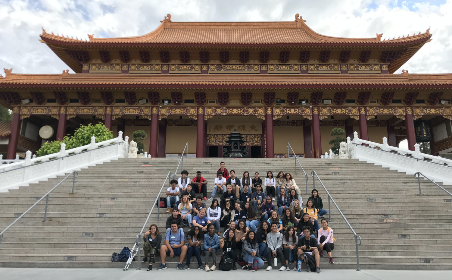 Pictured above, WHAP Club students at the Hsi Lai Temple.