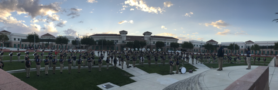 Pictured+above%2C+ERHS+Band+prior+to+the+Homecoming+Football+Game.