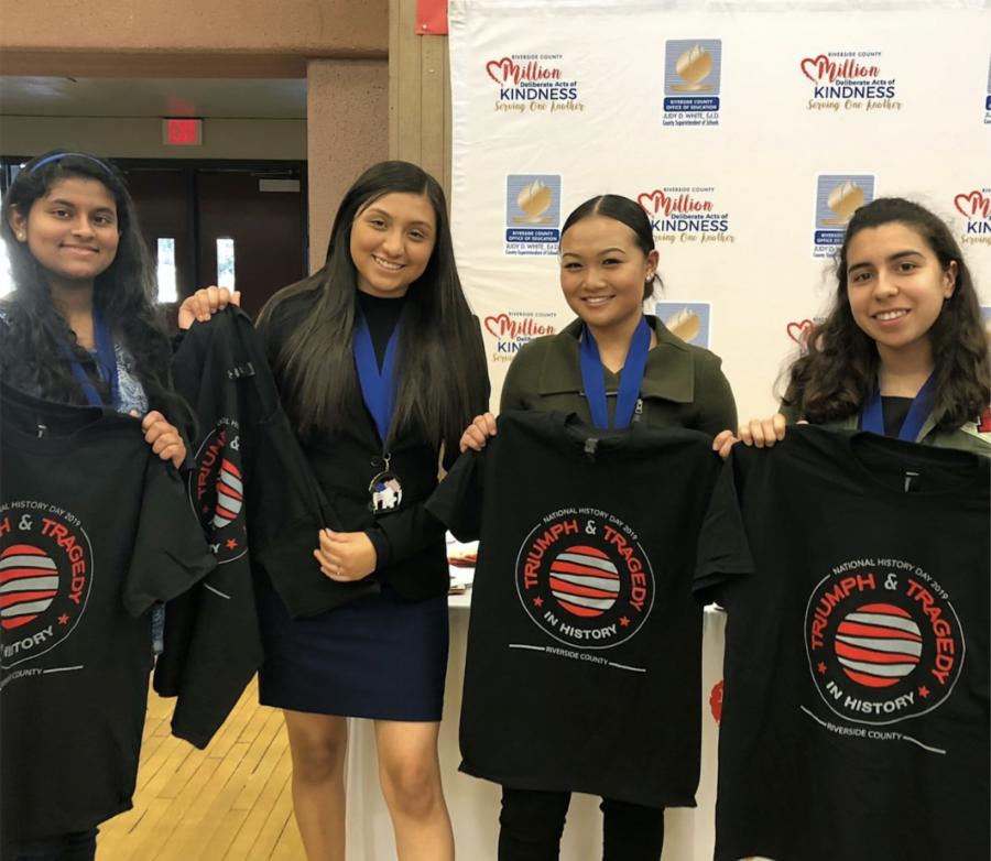Pictured above, the ERHS History Day Champions: Daniella Terrones, Sophia Liu, Tianna Calderon, and Dimple Garuadapuri.