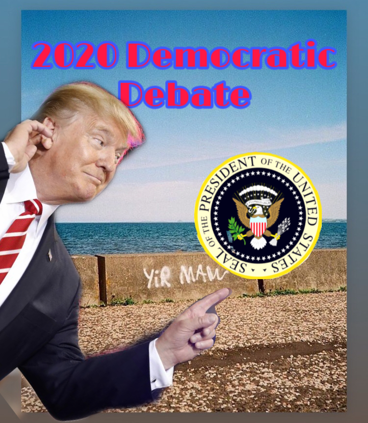 Donald+Trump+and+the+Democratic+Debate+are+pictured+above.