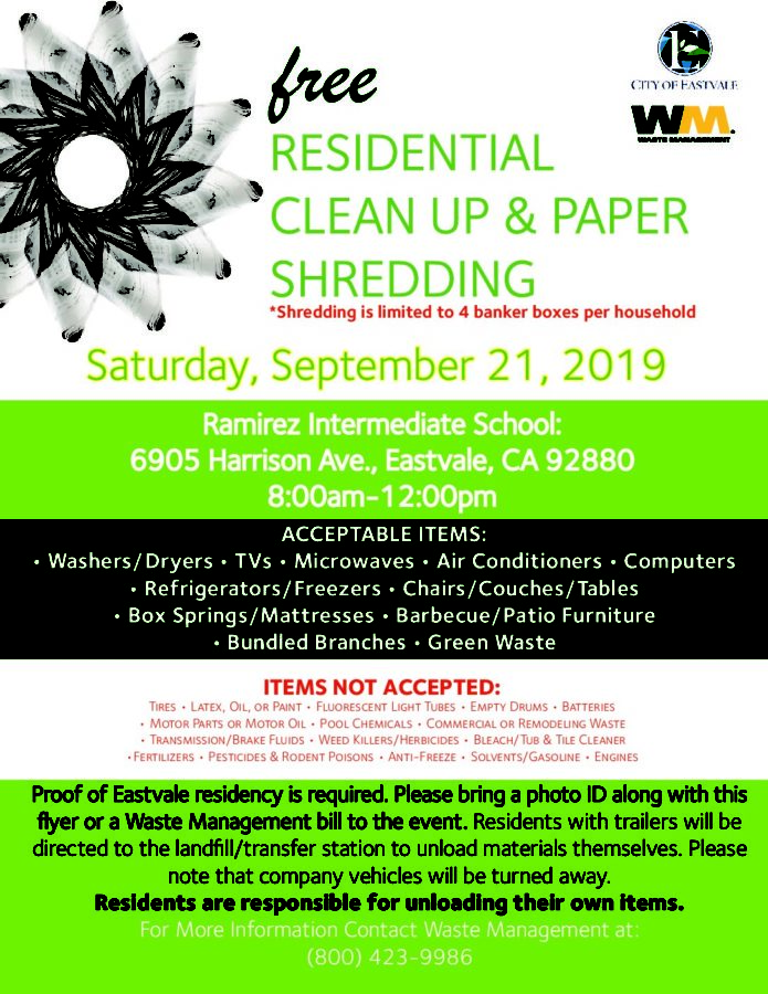 Eastvale's Free Biannual Clean Up Event