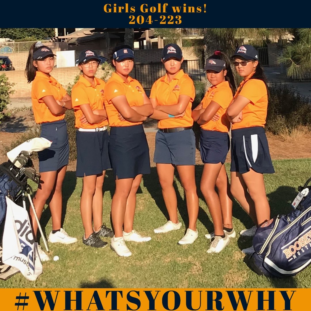 Our Girls Golf team in a stance promoting thier hashtag #whatsyourwhy showing empowerment. This photo was posted on the ERHS official Athletics page on twitter,@AthleticsERHS. This was pposted right after their announcement of receiving the opportunity of competing in C.I.F.