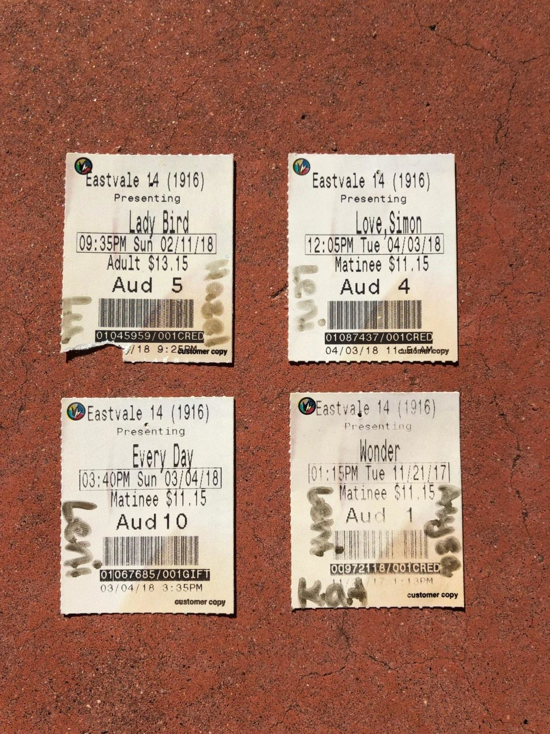 Small portion of collected movie stubs from 2017-2018