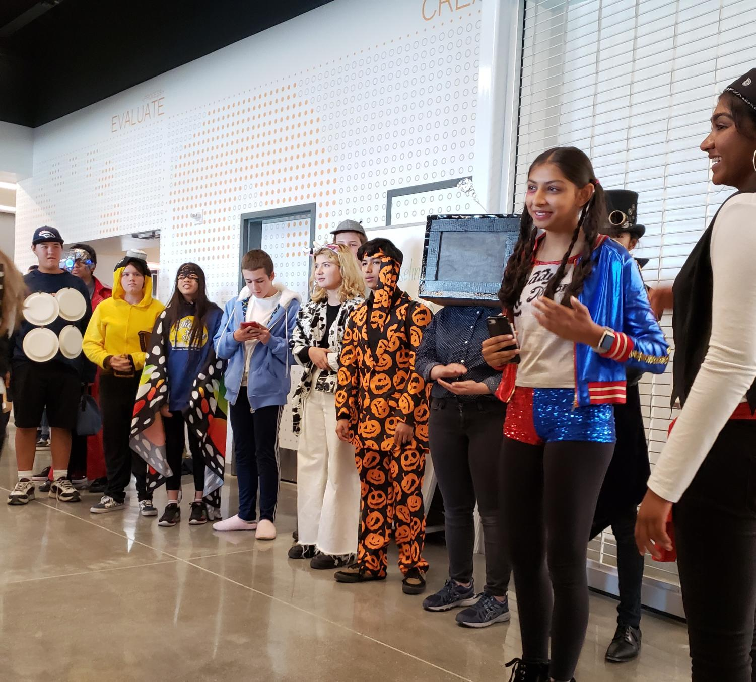 Students line up for the first eSTEM Halloween Costume Competition.