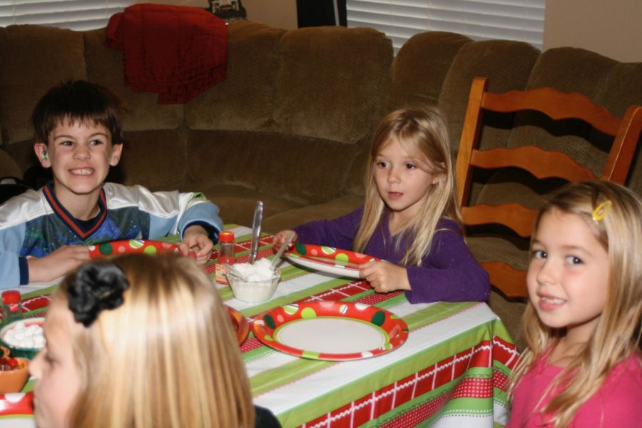 Photo of friends and I as children at a Christmas party
