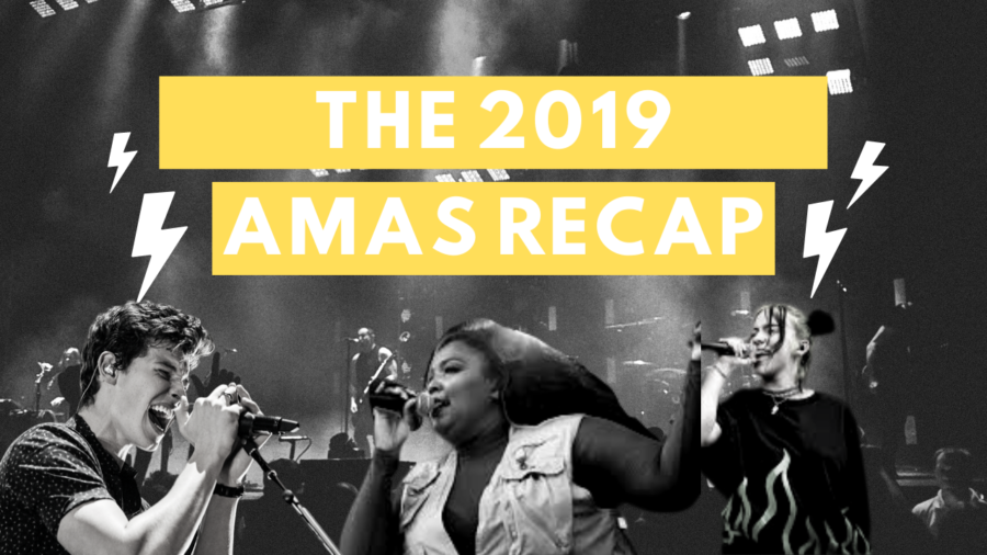The+2019+AMAs+Recap+Cover+featuring+Shawn+Mendes%2C+Lizzo%2C+and+Billie+Eilish.+%28Left+to+Right%29