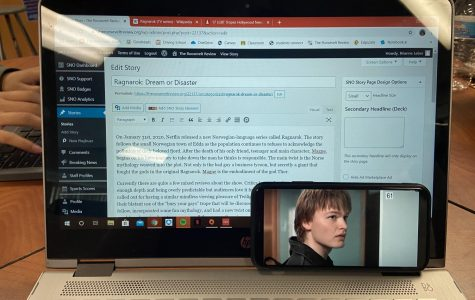 My watching Ragnarok as I worked on writing this article. The character on screen is main character, Magne.