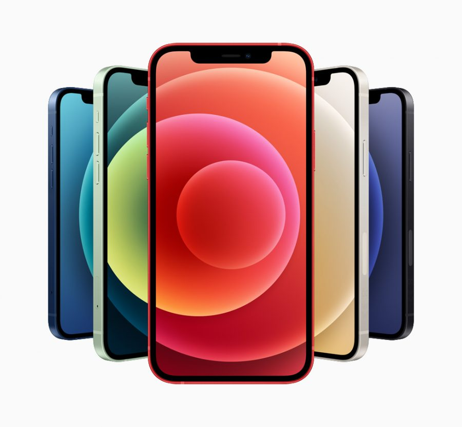iPhone 12 picture featuring the 5 different colors, taken from apple.com