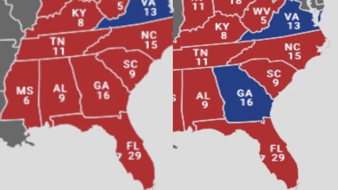 The fate of the election largely will come down to how states like Georgia will send their delegates to. (edited by me)