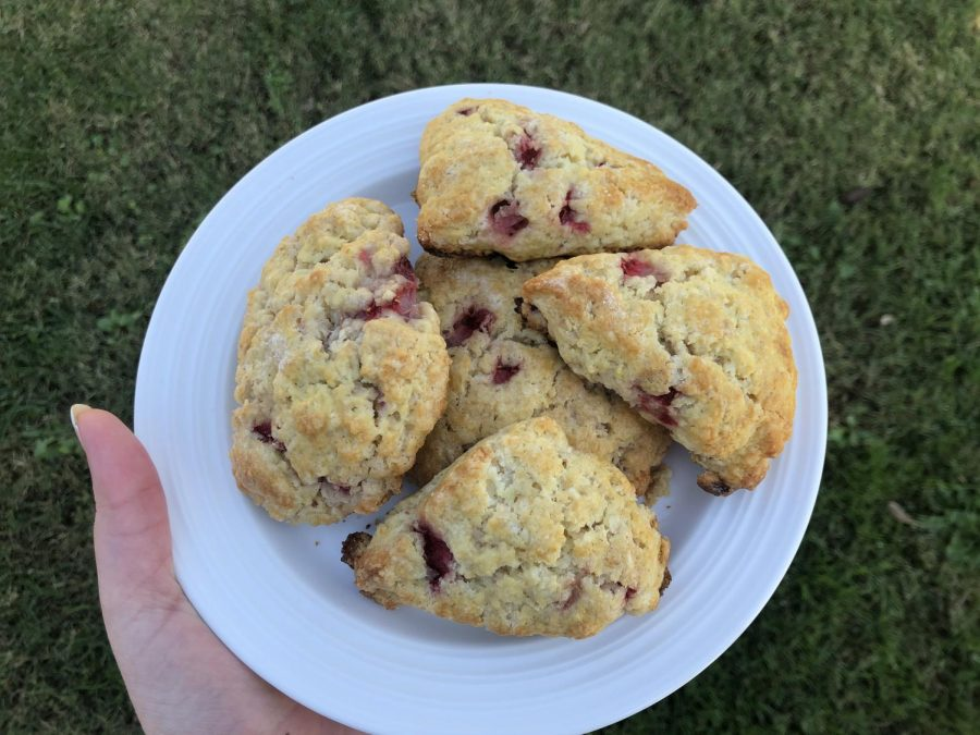 Strawberry scones that I used a modified sour cherry scones recipe to make