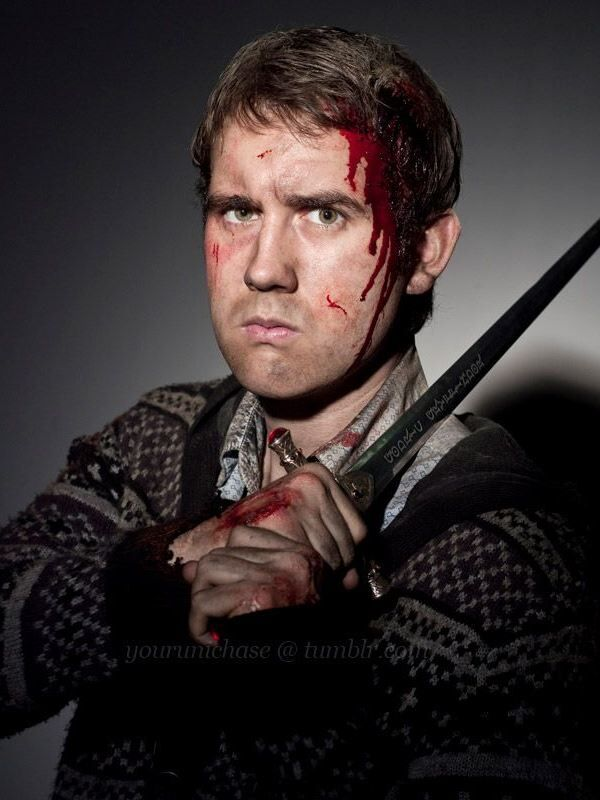 This is Neville after the battle for Hogwarts, still holding the sword of Gryffindor