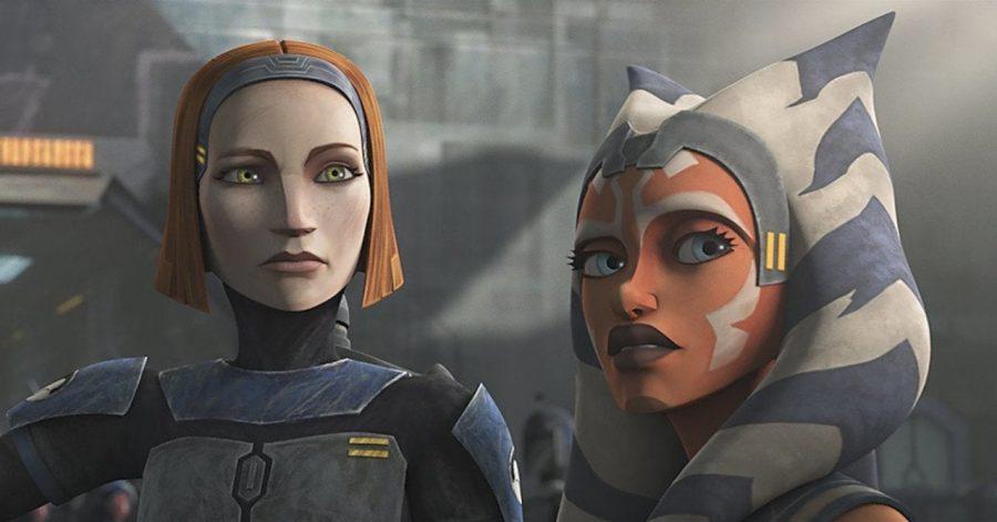 Ahsoka Tano and Bo-Katan in Star Wars: The Clone Wars.