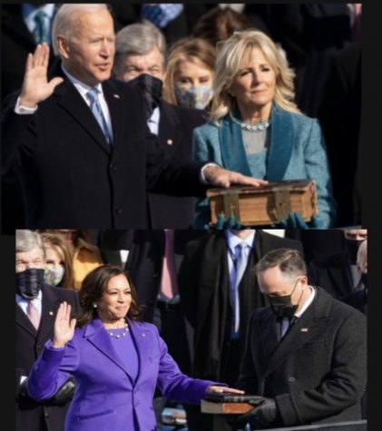 President Biden and Vice President Harris taking their oath of office (edited by me)