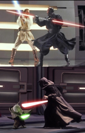 Some of the numerous lightsaber duels throughout the trilogy, including Obi-Wan vs Darth Maul and Yoda vs Palpatine (Edited by me)