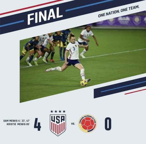 The final score with an image of Samantha Mewis
