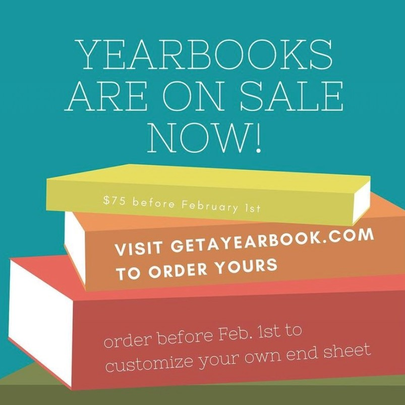 Ad for school yearbooks on sale.