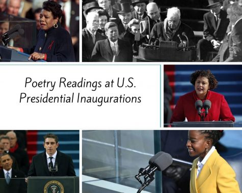 Collage of pictures from poetry readings at U.S. presidential inaugurations