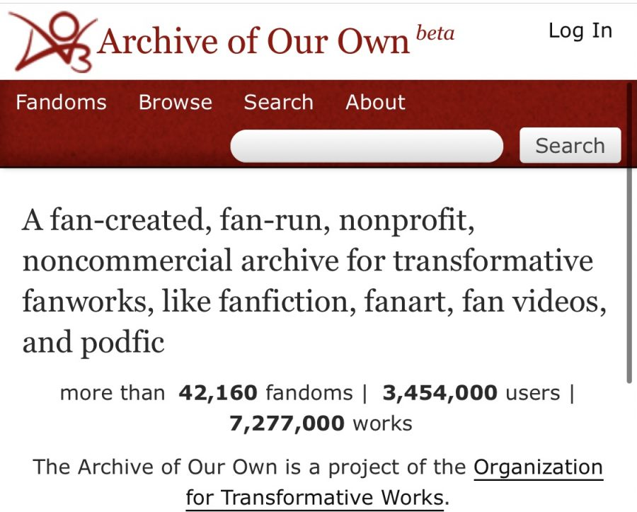 Screenshot of the opening page of the mobile version of Ao3.