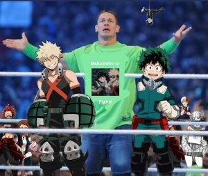 An poor edit where John Cena is giving a speech about BakuDeku to other MHA characters while Bakugo and Deku stand next to him.