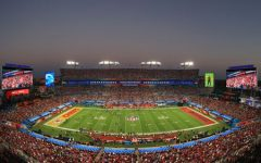 Raymond James Stadium in Tampa, Florida shortly before the start of Super Bowl LV.