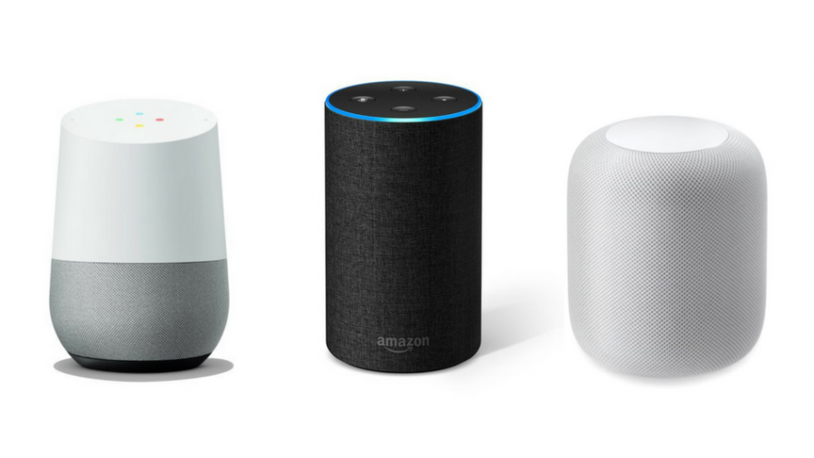 This is the Amazon Alexa, and two Google Smart Home Speakers