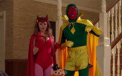 Wanda and Vision in classic comic book costumes