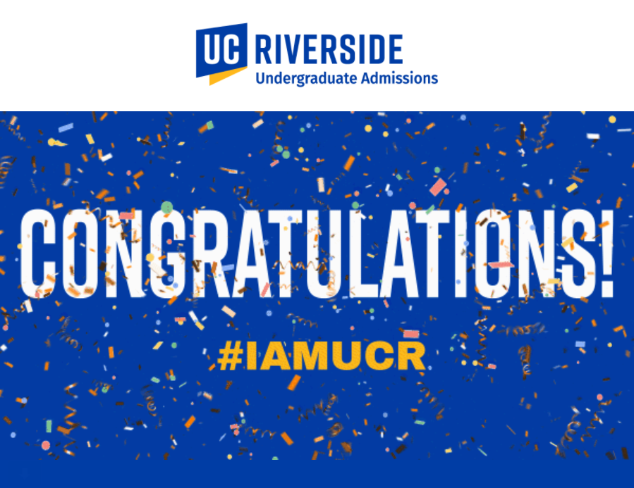 Screenshot of 2021 UCR Acceptance Graphic