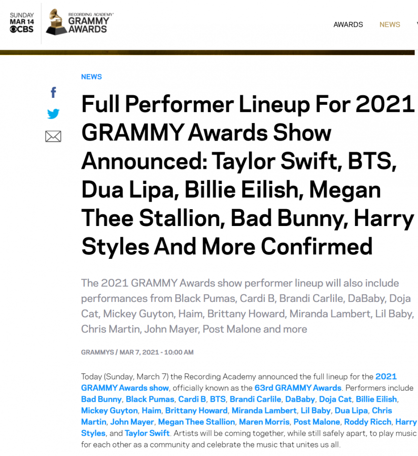 Screenshot from the Grammys website regarding performances for 2021