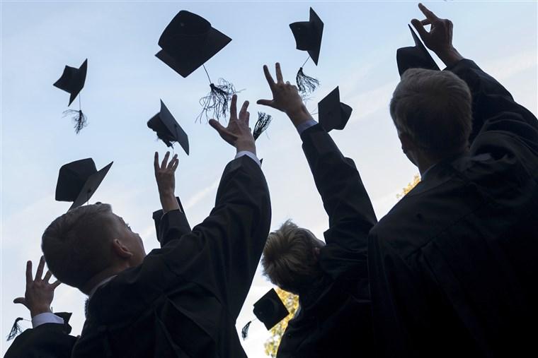 A graduating class celebrating their graduation in person, Pre-COVID.